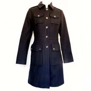 Banana Republic S Military Wool Coat black trench